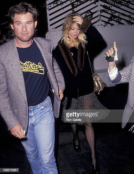Kurt Russell and Goldie Hawn during Goldie Hawn and Kurt Russell Sighted at Spago's Restaurant February 28 1989 at Spago's Restaurant in Los Angeles...