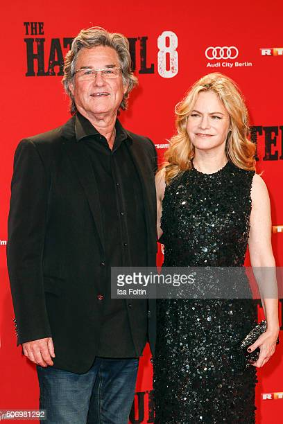 Kurt Russell and Jennifer Jason Leigh attend the premiere of 'The Hateful 8' at Zoo Palast on January 26, 2016 in Berlin, Germany.