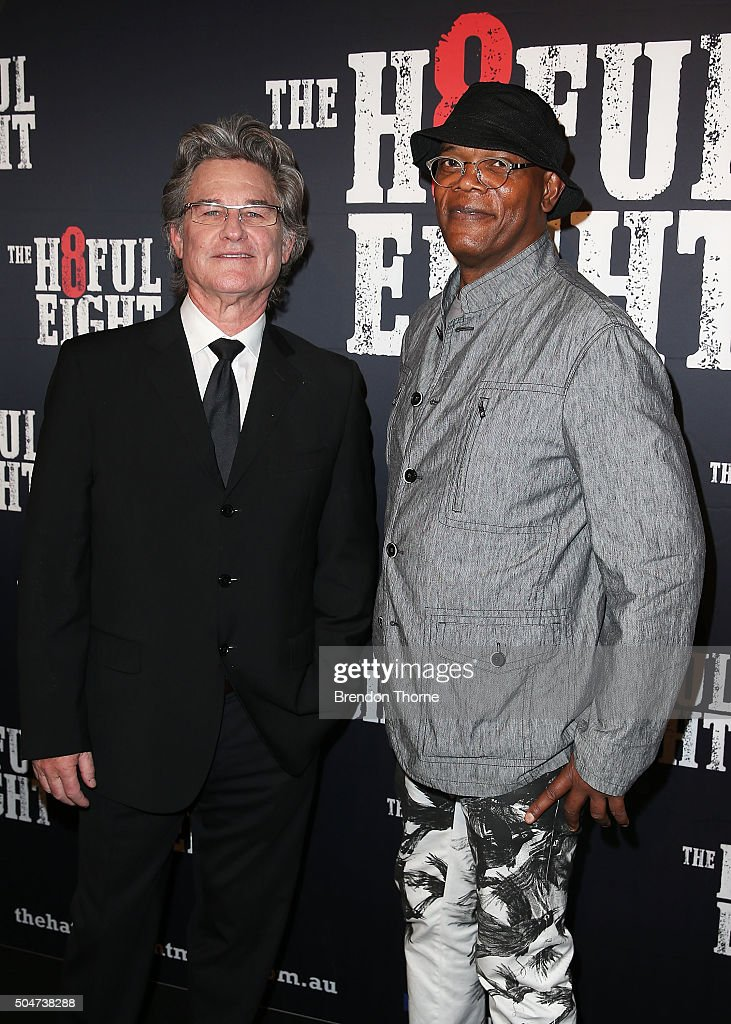 Kurt Russell and Samuel L. Jackson arrive ahead of the Australian premiere of The Hateful Eight at Event Cinemas George Street on January 13, 2016 in Sydney, Australia.