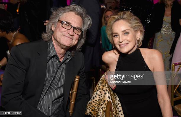 Kurt Russell and Sharon Stone attend WCRF's An Unforgettable Evening at the Beverly Wilshire Four Seasons Hotel on February 28 2019 in Beverly Hills...