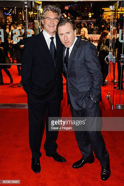 Kurt Russell and Tim Roth attend the European Premiere of The Hateful Eight at Odeon Leicester Square on December 10 2015 in London England