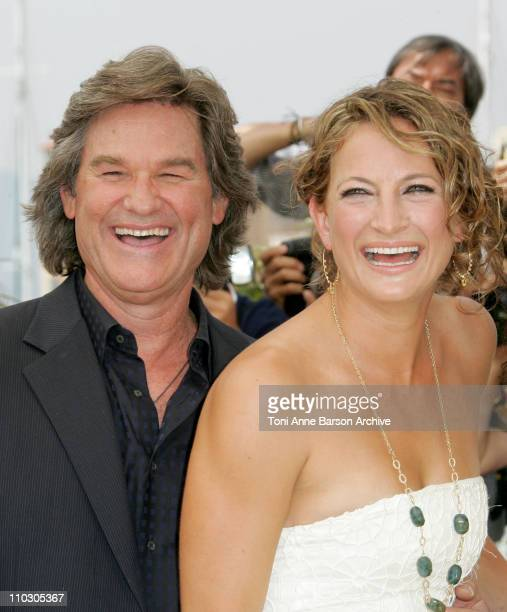 Kurt Russell and Zoe Bell during 2007 Cannes Film Festival Death Proof Photocall at Palais des Festival in Cannes France