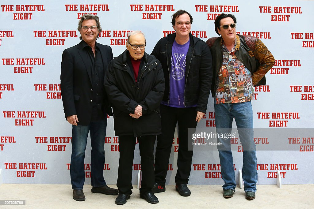 Kurt Russell, Ennio Morricone, Quentin Tarantino and Michael Madsen attend the 'The Hateful Eight' photocall at Hassler Hotel on January 28, 2016 in Rome, Italy.