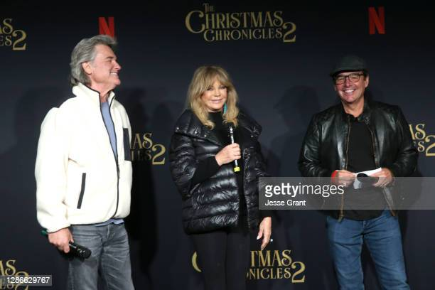 """Kurt Russell, Goldie Hawn and director/writer Chris Columbus attend Netflix's """"The Christmas Chronicles: Part Two"""" Drive-In Event at The Grove on..."""