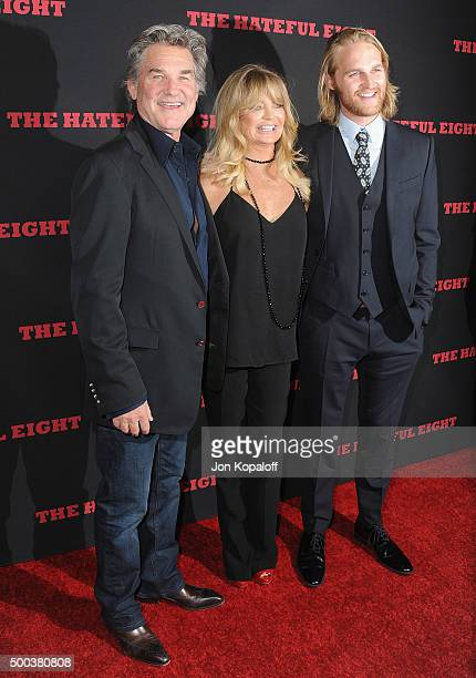 """Kurt Russell, Goldie Hawn and son Wyatt Russell arrive at the Los Angeles Premiere """"The Hateful Eight"""" at ArcLight Cinemas Cinerama Dome on December..."""