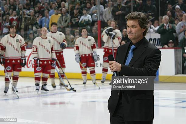 Kurt Russell honors Herb Brooks before the 54th NHL AllStar Game on February 8 2004 at the Xcel Energy Center in St Paul Minnesota