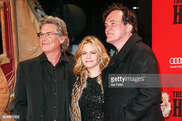 Kurt Russell, Jennifer Jason Leigh and Quentin Tarantino attend the premiere of 'The Hateful 8' at Zoo Palast on January 26, 2016 in Berlin, Germany.