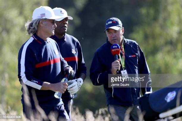 Kurt Russell of Team USA and Samuel L Jackson of Team USA are interviewed by Rich Beem during the celebrity challenge match ahead of the 2018 Ryder...