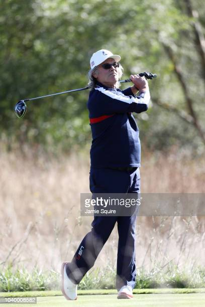Kurt Russell of Team USA plays a shot during the celebrity challenge match ahead of the 2018 Ryder Cup at Le Golf National on September 25 2018 in...