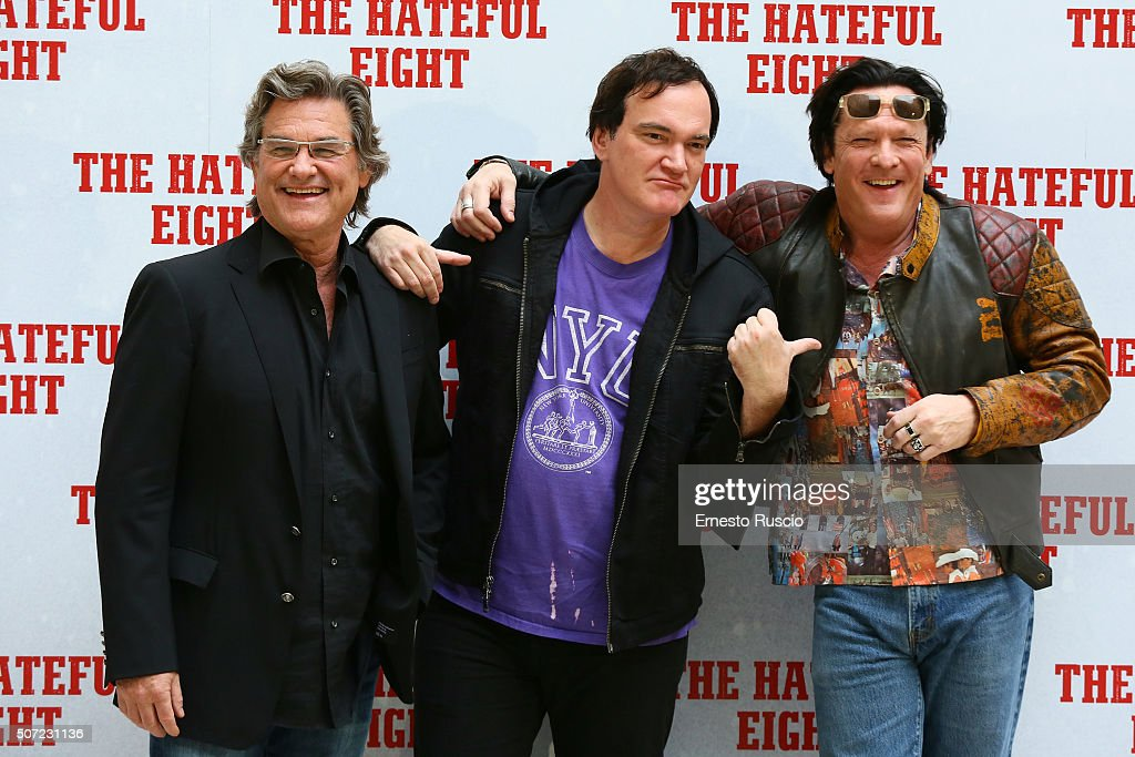 Kurt Russell, Quentin Tarantino and Michael Madsen attend the 'The Hateful Eight' photocall at Hassler Hotel on January 28, 2016 in Rome, Italy