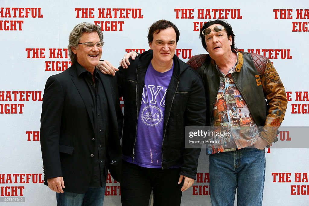 Kurt Russell, Quentin Tarantino and Michael Madsen attend the 'The Hateful Eight' photocall at Hassler Hotel on January 28, 2016 in Rome, Italy.