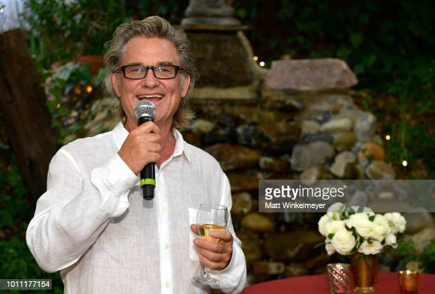 """Kurt Russell speaks at the """"Wild Wild Country"""" Filmmaker Toast at Inn of the Seventh Ray on August 4, 2018 in Topanga, California."""
