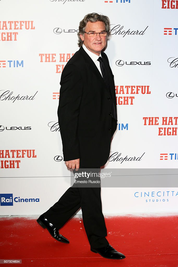 Kurt Russell walks the red carpet for 'The Hateful Eight' premiere on January 28, 2016 in Rome, Italy.