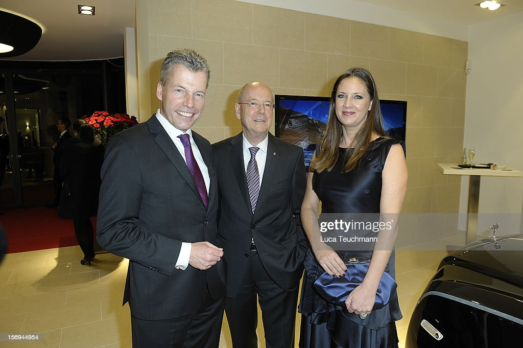 Kurt Schnauck; Dana Schweiger and Torsten Mueller-Oetvoes attend the Rolls-Royce Motorcars Berlin Opening on November 24, 2012 in Berlin, Germany.