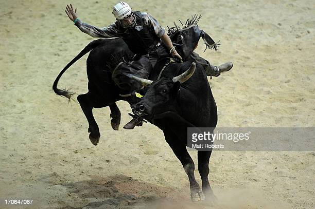 Kurt Shephard of Atherton competes in the Bull Ride during the National Rodeo Finals on June 16 2013 on the Gold Coast Australia