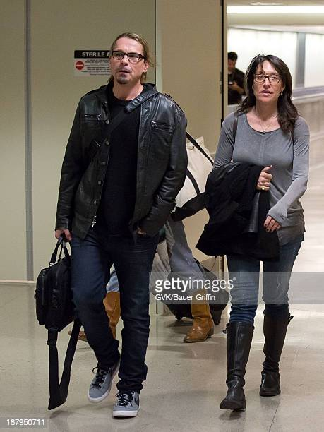 Kurt Sutter and Katey Sagal are seen arriving at Los Angeles International airport on November 13 2013 in Los Angeles California