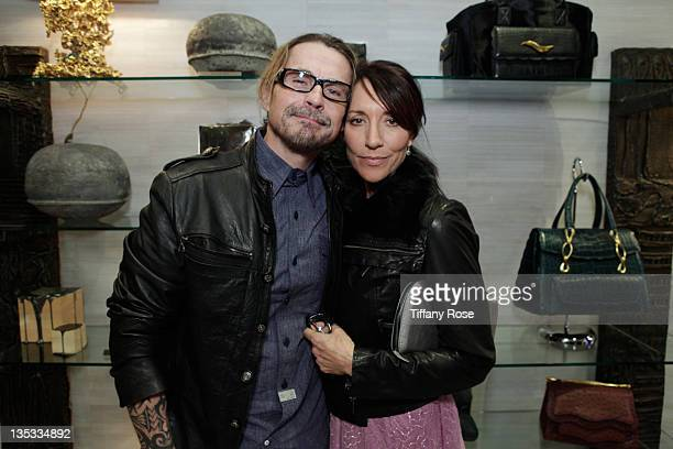 Kurt Sutter and Katey Sagal attend the Opal Stone Luxury Handbags And Fine Jewelry Launch at Gray Gallery on December 8 2011 in Beverly Hills...