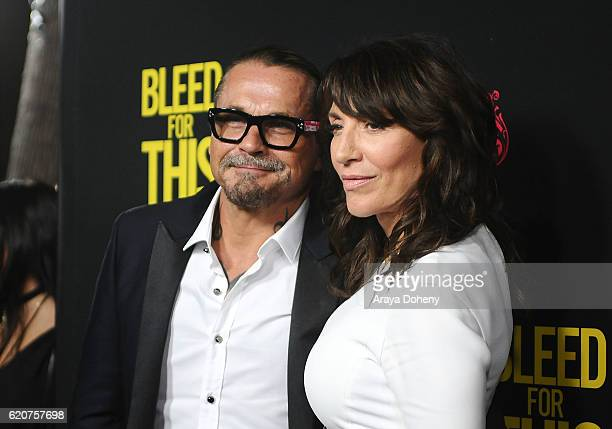Kurt Sutter and Katey Sagal attend the premiere of Open Road Films' 'Bleed For This' at Samuel Goldwyn Theater on November 2 2016 in Beverly Hills...