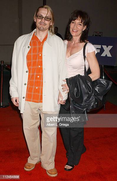 Kurt Sutter and Katey Sagal during 'The Shield' Season Three Premiere Screening at The Zanuck Theater in West Los Angeles California United States