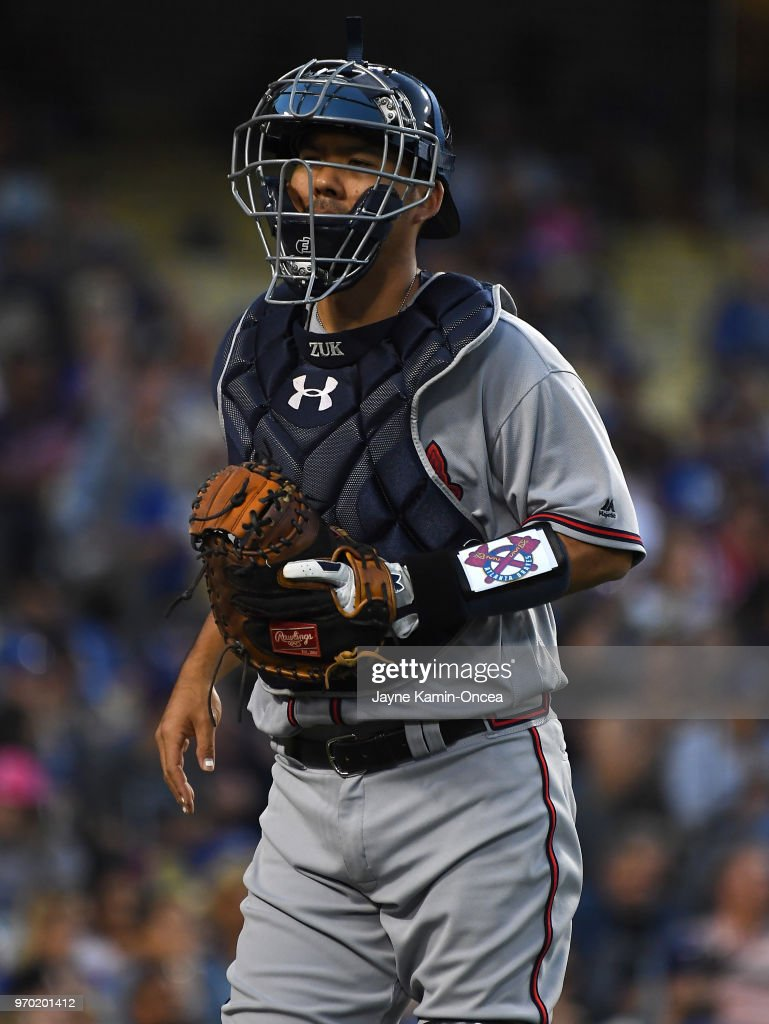 Kurt Suzuki #24 of the Atlanta Braves during the game against the Los Angeles Dodgers at Dodger Stadium on June 8, 2018 in Los Angeles, California.