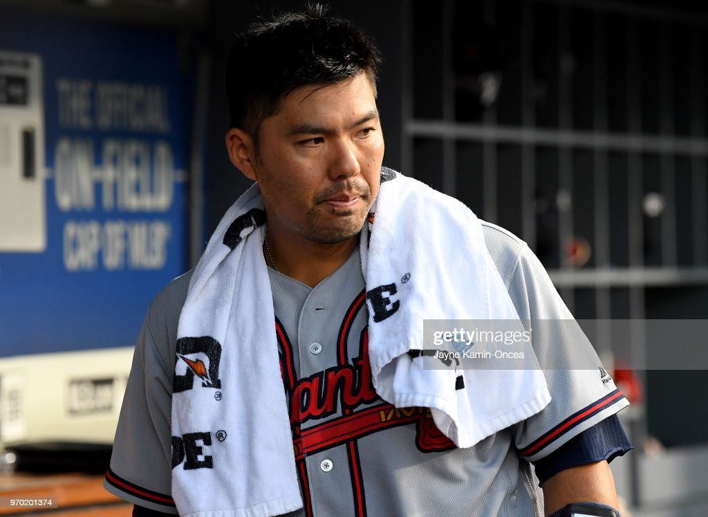 Kurt Suzuki #24 of the Atlanta Braves in the dugout during the game against the Los Angeles Dodgers at Dodger Stadium on June 8, 2018 in Los Angeles, California.