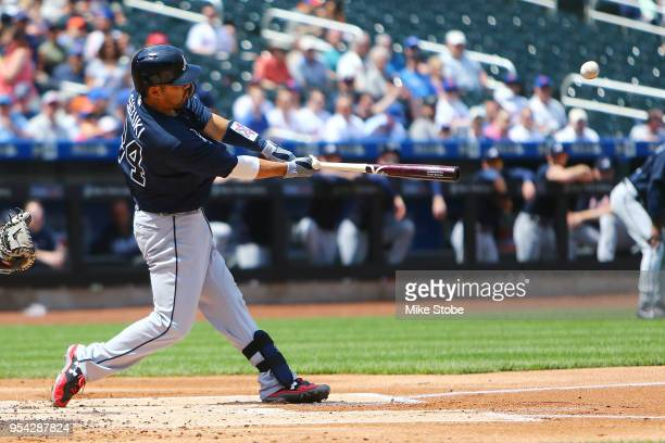 Kurt Suzuki of the Atlanta Braveshits a tworun home run in the first inning aganst the New York Mets at Citi Field on May 3 2018 in the Flushing...