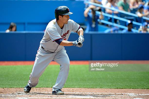 Kurt Suzuki of the Minnesota Twins bats during the game against the Toronto Blue Jays at the Rogers Centre on Monday August 3 2015 in Toronto Ontario...