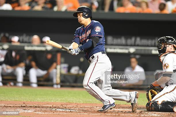 Kurt Suzuki of the Minnesota Twins hits a two run double in the second inning during a baseball game against the Baltimore Orioles at Oriole Park at...