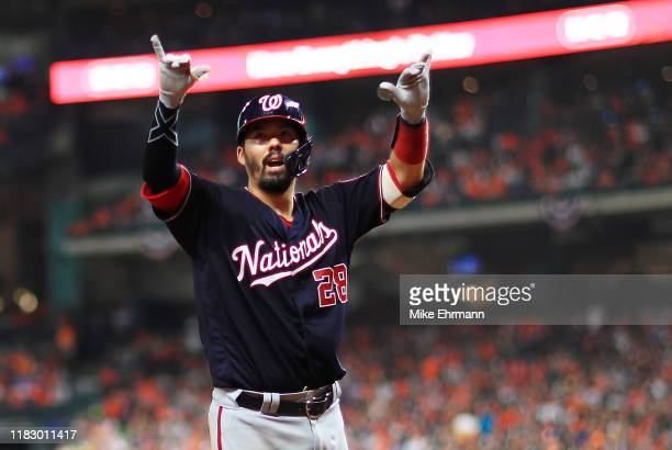 Kurt Suzuki of the Washington Nationals hits a solo home run against the Houston Astros during the seventh inning in Game Two of the 2019 World...
