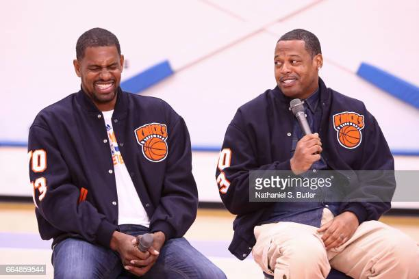 Kurt Thomas and Marcus Camby of the 1999 New York Knicks team smile during an interview on April 2 2017 at Madison Square Garden Training Center in...