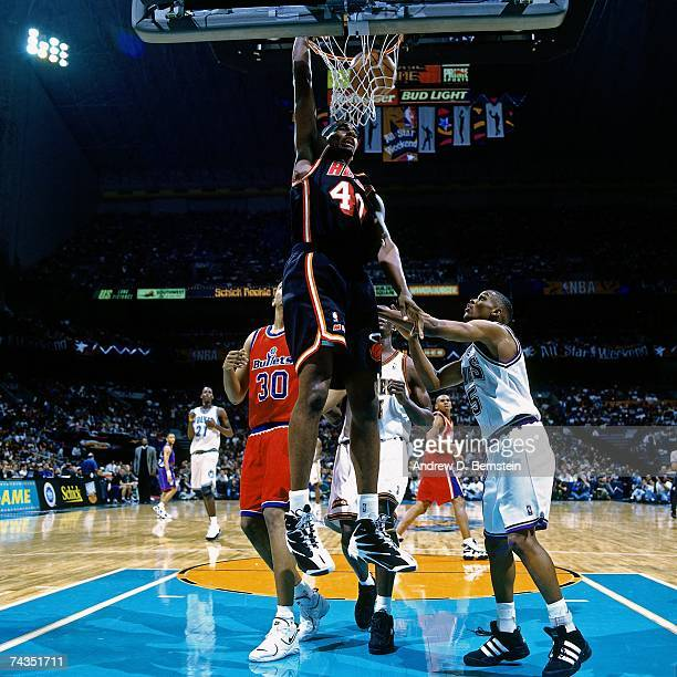 Kurt Thomas of the Eastern Conference attempts a dunk during the 1996 Rookie Challenge played February 10 1996 at the Alamodome in San Antonio Texas...