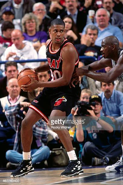 Kurt Thomas of the Miami Heat posts up during a game against the Sacramento Kings on December 10 1995 at Arco Arena in Sacramento California NOTE TO...