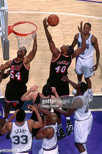 Kurt Thomas of the Miami Heat rebounds during a game against the Sacramento Kings on December 10 1995 at Arco Arena in Sacramento California NOTE TO...