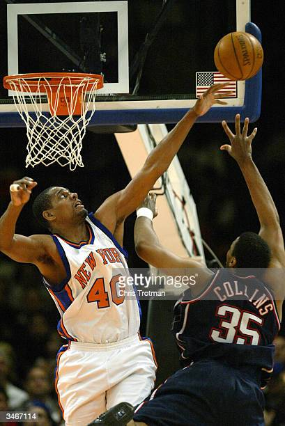 Kurt Thomas of the New York Knicks blocks a shot by Jason Collins of the New Jersey Nets during Game four of the Eastern Conference Quarterfinals of...