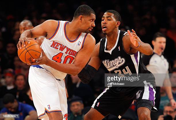 Kurt Thomas of the New York Knicks in action against Jason Thompson of the Sacramento Kings at Madison Square Garden on February 2 2013 in New York...
