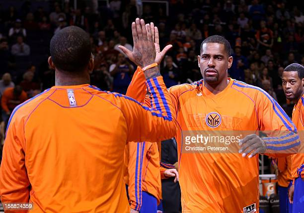 Kurt Thomas of the New York Knicks is introduced before the NBA game against the Phoenix Suns at US Airways Center on December 26 2012 in Phoenix...