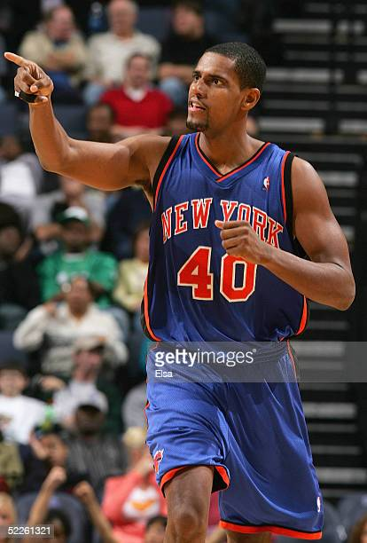 Kurt Thomas of the New York Knicks points during the game against the Memphis Grizzlies on December 7 2004 at the FedEx Forum in Memphis Tennessee...