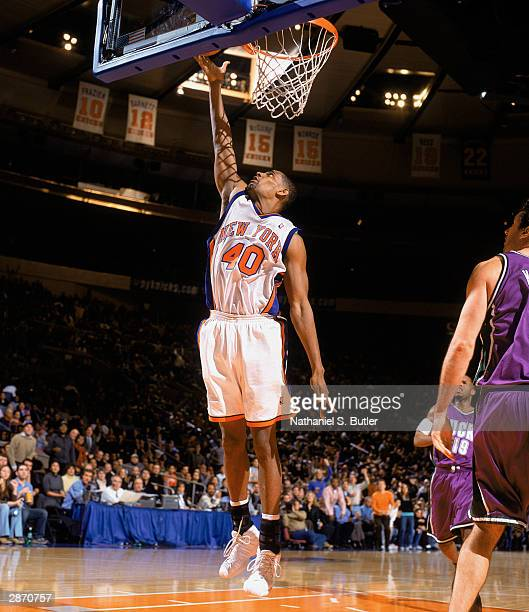Kurt Thomas of the New York Knicks takes the layup against the Milwaukee Bucks during the NBA game at Madison Square Garden on January 10 2003 in New...