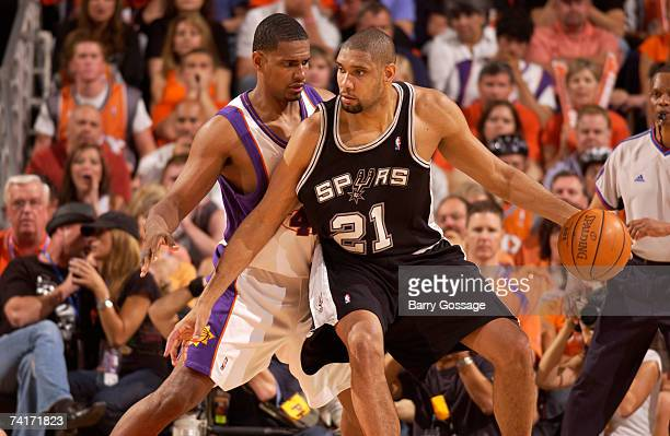 Kurt Thomas of the Phoenix Suns guards Tim Duncan of the San Antonio Spurs in Game Five of the Western Conference Semifinals during the 2007 NBA...