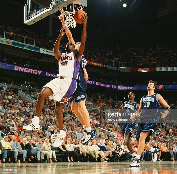 Kurt Thomas of the Phoenix Suns takes the ball to the basket during a game against the Utah Jazz at US Airways Center on November 3 2006 in Phoenix...