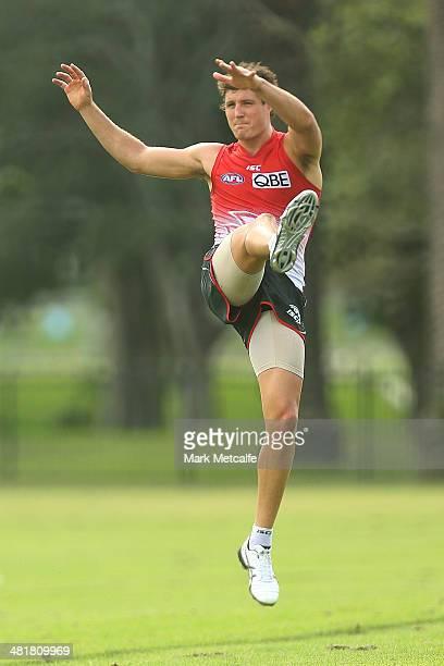 Kurt Tippett kicks during a Sydney Swans AFL training session at Lakeside Oval on April 1, 2014 in Sydney, Australia.