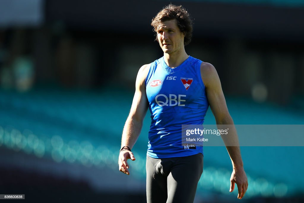 Kurt Tippett looks on during a Sydney Swans AFL training session at Sydney Cricket Ground on August 22, 2017 in Sydney, Australia.
