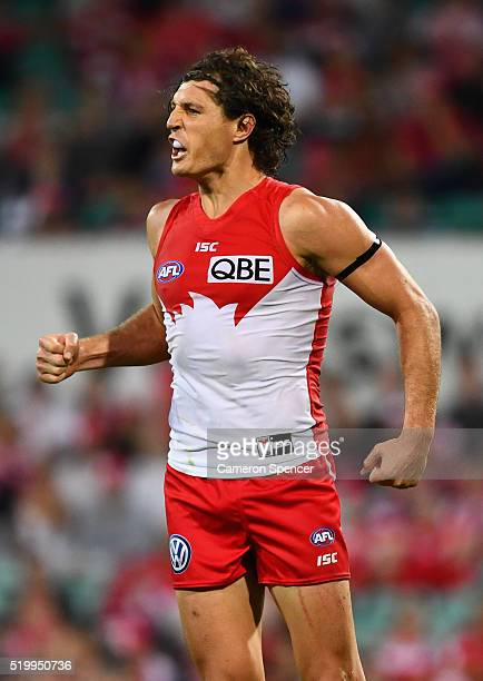 Kurt Tippett of the Swans celebrates kicking a goal during the round three AFL match between the Sydney Swans and the Greater Western Sydney Giants...