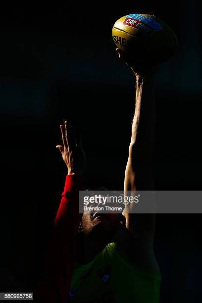 Kurt Tippett of the Swans contests a ball during a Sydney Swans AFL training session at Sydney Cricket Ground on July 26 2016 in Sydney Australia