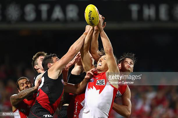 Kurt Tippett of the Swans contests the ball during the round seven AFL match between the Sydney Swans and the Essendon Bombers at Sydney Cricket...