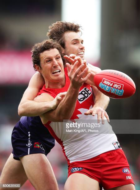 Kurt Tippett of the Swans is challenged by Joel Hamling of the Dockers during the round 21 AFL match between the Sydney Swans and the Fremantle...