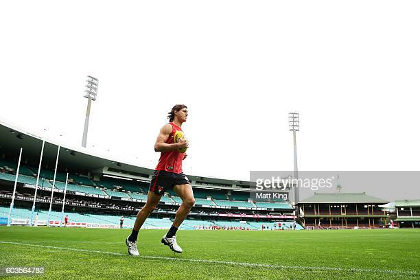 Kurt Tippett of the Swans runs during a Sydney Swans AFL training session at Sydney Cricket Ground on September 13 2016 in Sydney Australia