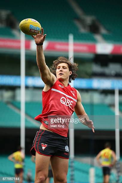 Kurt Tippett of the Swans taps the ball during a Sydney Swans AFL training session at Sydney Cricket Ground on July 19 2016 in Sydney Australia