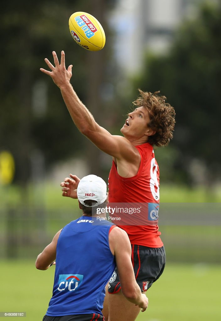 Kurt Tippett of the Swans trains during a Sydney Swans AFL training session at Lakeside Oval on March 8, 2017 in Sydney, Australia.