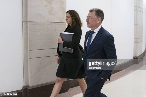 Kurt Volker former special envoy to the Ukraine right exits after a closeddoor deposition before House committees on Capitol Hill in Washington DC US...